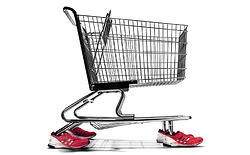 shopping cart system with running shoes