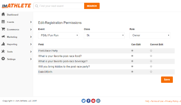Edit Registration Permissions