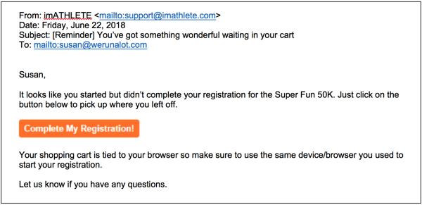 abandoned cart trigger email imATHLETE