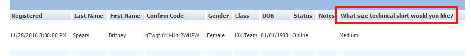 Updated Question in Participant Details
