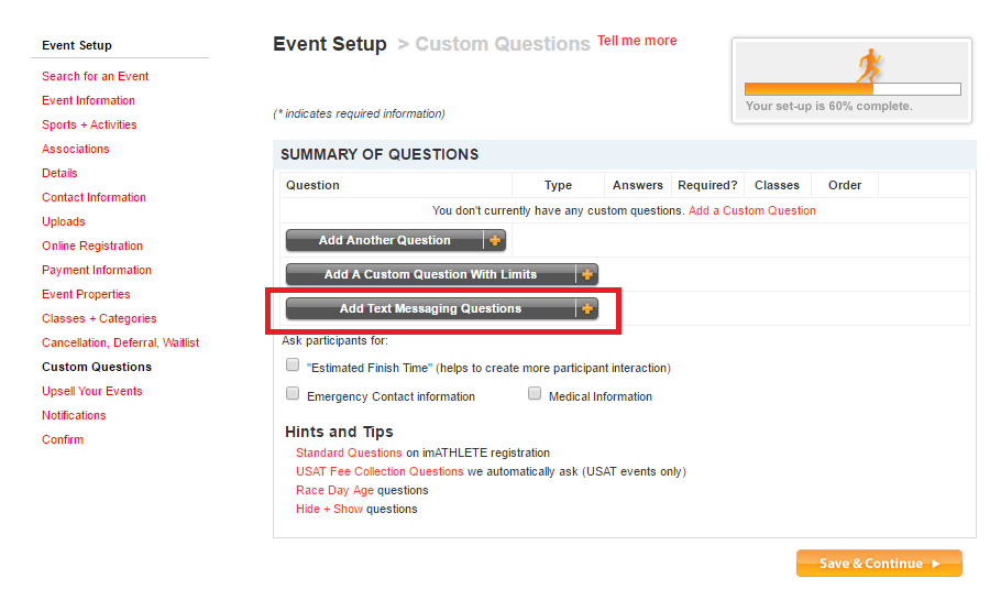 Add Text Message Custom Questions to Online Registration